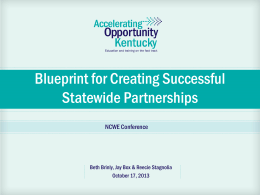 Blueprint for Creating Successful Statewide Partnerships
