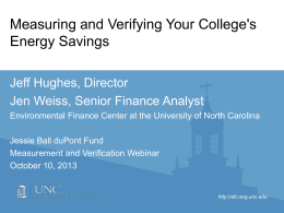 Measuring and Verifying Your College`s Energy Savings