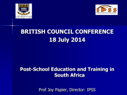 Post-school Education &Training in South Africa