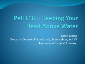 Pell Grant - LEU and Other Issues