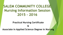 Why Nursing? - Salem Community College