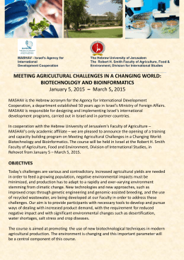 meeting agricultural challenges in a changing world: biotechnology