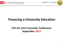 at CSU and UC - University of California