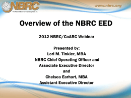 Webinar presentation about using the EED - for accred