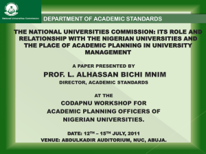 its role and relationship with the nigerian universities
