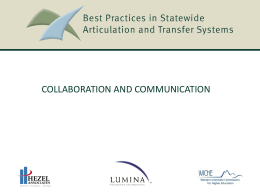 Best Practices in Statewide Articulation and Transfer Systems