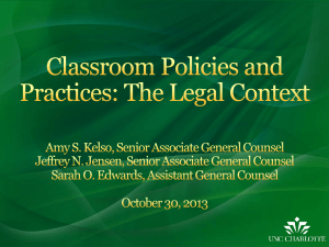 Classroom Policies and Practices: The Legal Context