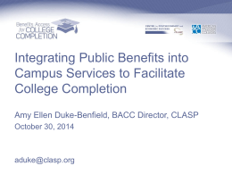Integrating Public Benefits into Campus Services