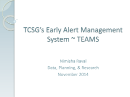 Training Presentation - TCSG Early Alert Management System