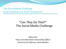 Social Media Challenge - UCSB Policies and Procedures