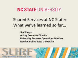 What is Shared Services? - University of North Carolina