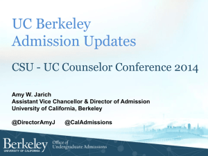 UC Berkeley Admission Updates - University of California