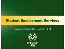 Summer 2014 Employer Information Session Slides