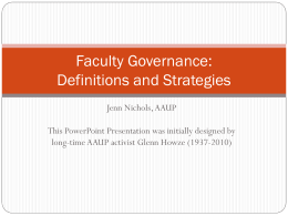 Faculty Governance - Centenary College of Louisiana
