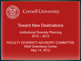 New Destinations Overview and WCMC Initiatives 051412