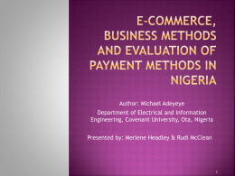 e-Commerce, Business Methods and Evaluation of Payment