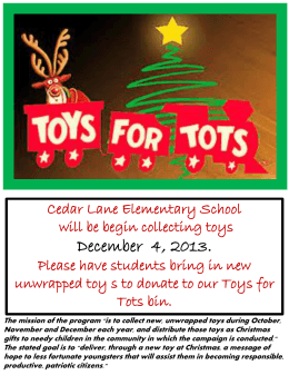 Toys for Tots - Cedar Lane Elementary