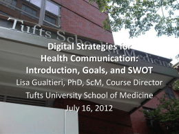 Slides - Web Strategies for Health Communication