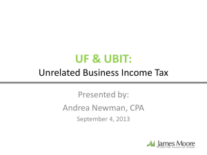 UF & UBIT: Unrelated Business Income Tax