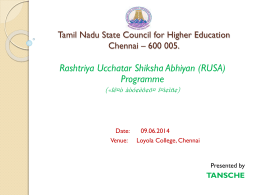 RUSA - PPT presentation on 9-6-2014 at Loyola
