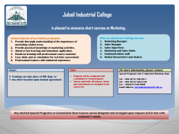 Jubail Industrial College is pleased to announce short courses on