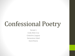 Confessional Poetry - MHS AP Literature 2013