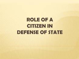 Role of a citizen in defense of state