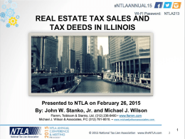 REAL ESTATE TAX SALES AND TAX DEEDS IN