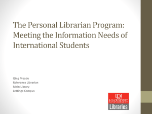 The Personal Librarian Program: Meeting the Information Needs of