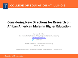 Research on African American Males in Higher Education: Centering