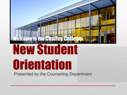 New student orrientation