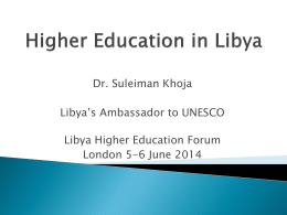 Higher Education in Libya - Libya Higher Education Forum