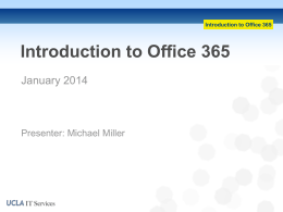 Introduction to Office 365 - UCLA