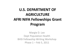 U.S. DEPARTMENT OF AGRICULTURE NIFA Fellowships Grant