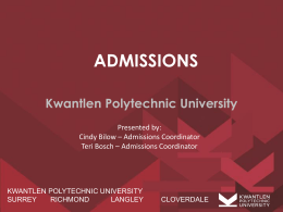 KPU Admissions – Powerpoint Counsellors