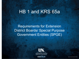 House Bill 1 & KRS 65a Powerpoint