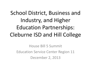Cleburne ISD and Hill College Partnership