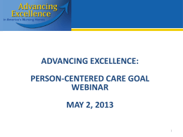 AE Person Centered Care Tool Webinar