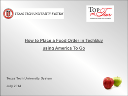 Confirm your order - Texas Tech University Departments