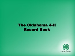Complete Overview of the Oklahoma 4-H Record Book - 4