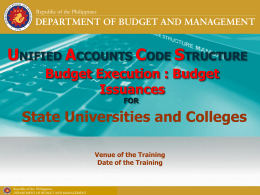 Budget Issuances for SUCs