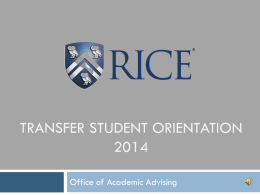 Transfer Student Orientation to Academics 2014