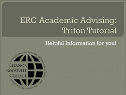 Triton Tutorial - Eleanor Roosevelt College