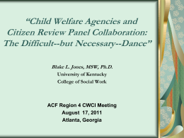 Child Welfare Agencies and Citizen Review Panel Collaboration