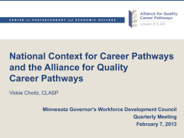Career Pathways - Governor`s Workforce Development Council