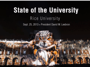 State of the University - Faculty & Researchers : Rice University