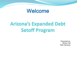 Arizona`s Expanded Debt Setoff Program