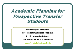 Academic Planning Presentation - Pre-Transfer Advising