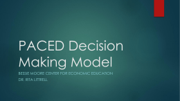 PACED 2 Decision Making Model - Arkansas Business Education