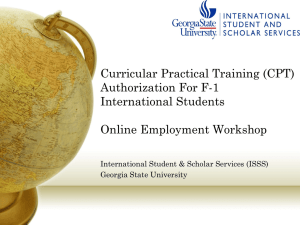 Curricular Practical Training (CPT) Authorization For F